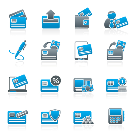 pos: credit card POS terminal and ATM icons  vector icon set