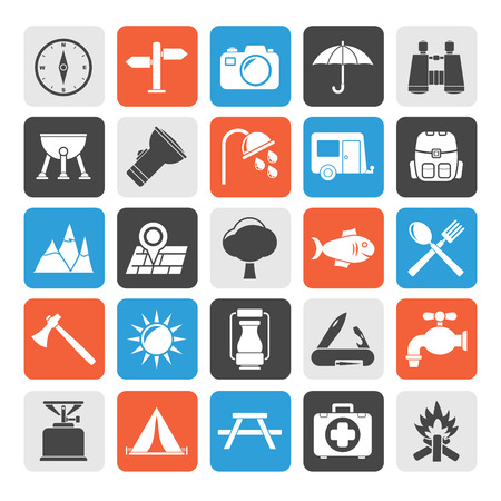 gas barbecue: Silhouette Camping and tourism icons  vector icon set