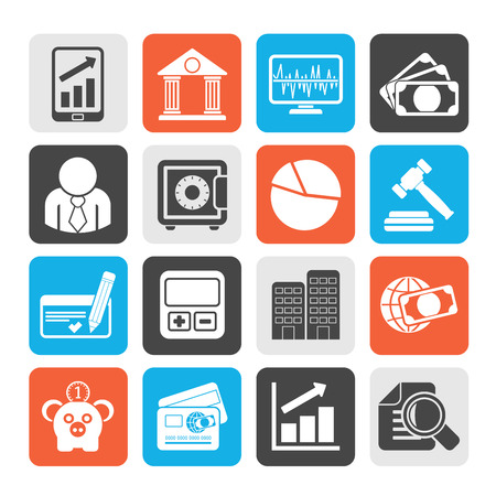 bank transfer: Silhouette Business finance and bank icons  vector icon set Illustration