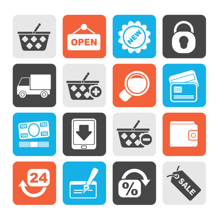 retail shopping: Silhouette shopping and retail icons  vector icon set