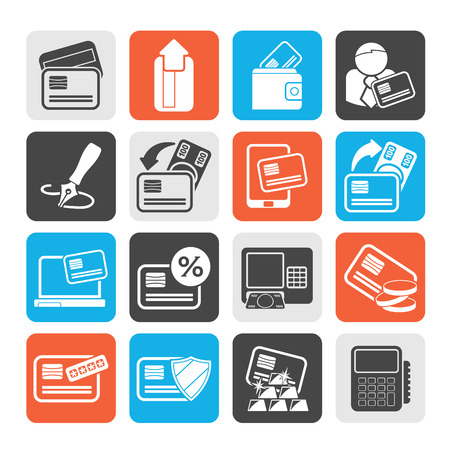 cardholder: Silhouette credit card POS terminal and ATM icons  vector icon set Illustration