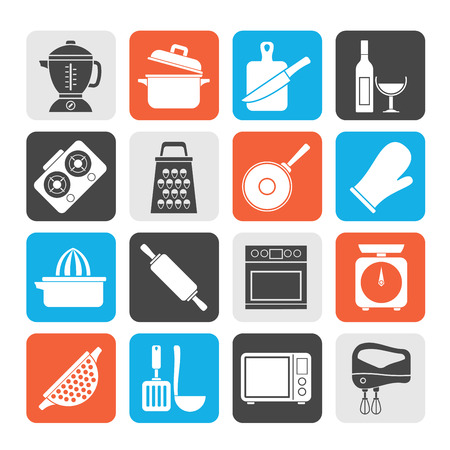 cutting board: Silhouette cooking tools icons  vector icon set Illustration