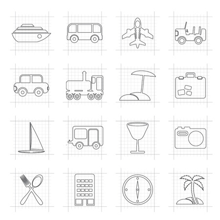 holiday icons: Travel, transportation, tourism and holiday icons - vector icon set Illustration