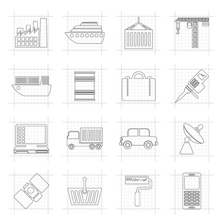 astronautics: Industry and Business icons - vector icon set Illustration