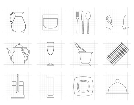 night bar: restaurant, cafe, bar and night club icons - vector icon set