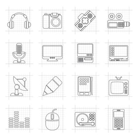 media equipment: Media equipment icons - vector icon set
