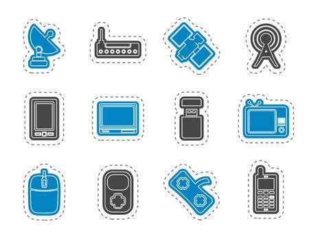 microwave antenna: tecnolog�a y comunicaciones iconos - conjunto de iconos de vector  Vectores