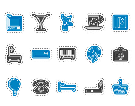climatic: Hotel and motel icons  - Vector icon Set Vectores