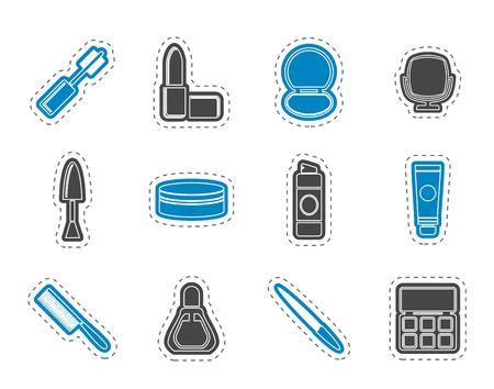 make up: cosmetic and make up icons - vector icon set Illustration