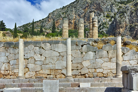 zeus: Ancient Greek archaeological site of Delphi,  Central Greece Stock Photo