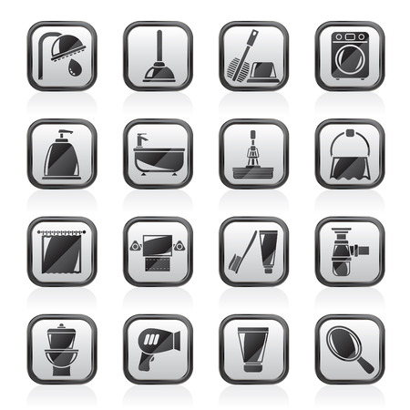 cleaning cloth: Bathroom and hygiene objects icons -vector icon set