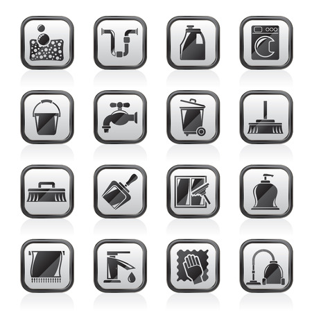 clean bathroom: Cleaning and hygiene icons - vector icon set