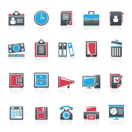 business supplies: Business and office supplies icons - vector icon set