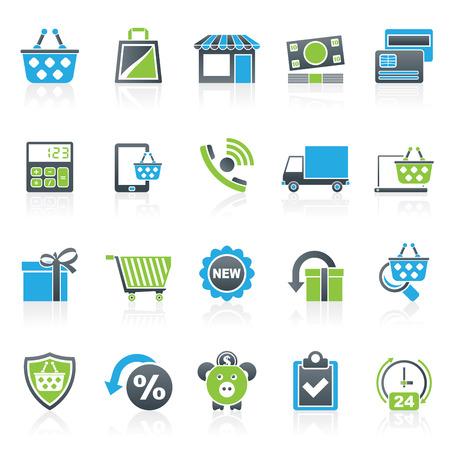 En las tiendas de línea y comercio electrónico iconos - conjunto de iconos vectoriales Foto de archivo - 42961592
