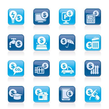 car bills: payment of  bills icons - vector icon set Illustration