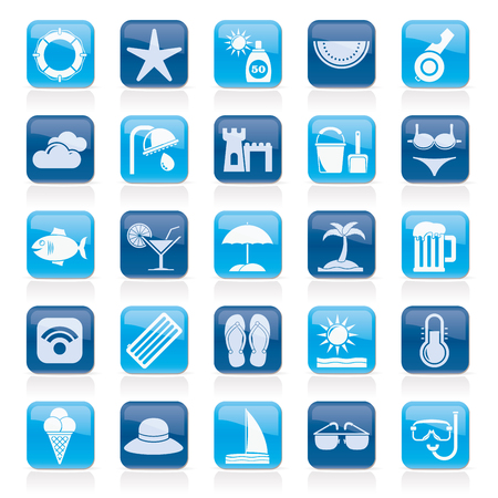 resort: Beach, resort and entertainment icons - vector icon set Illustration