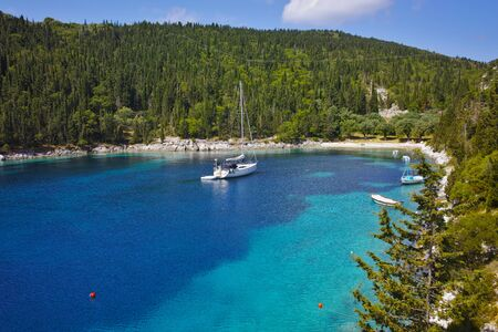 cefallonia: amazing panorama of Foki Fiskardo Beach, Kefalonia, Ionian islands, Greece