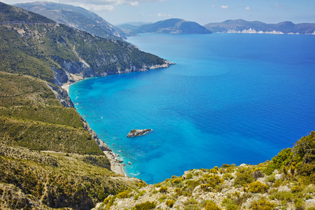cefallonia: amazing panorama of coast and blue waters of Kefalonia, Ionian islands, Greece Stock Photo