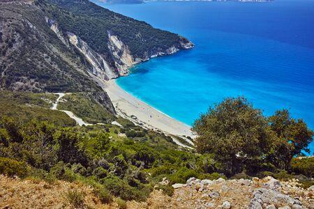 cefallonia: Panoramic View of beautiful Myrtos beach, Kefalonia, Ionian islands, Greece
