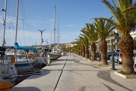 kefalinia: embankment with palm trees and yachts in Argostoli town , Kefalonia, Ionian islands, Greece