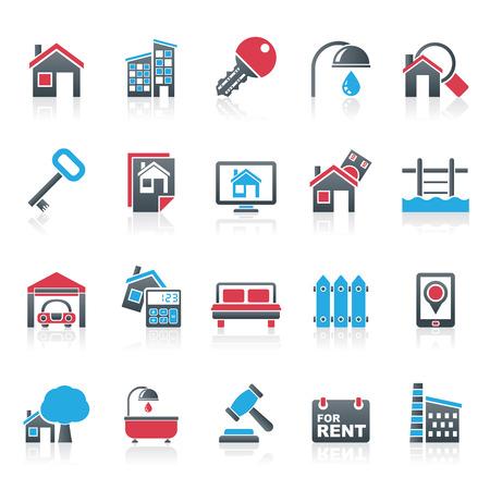 zakelijk: Real Estate bedrijf Icons - Vector Icon Set