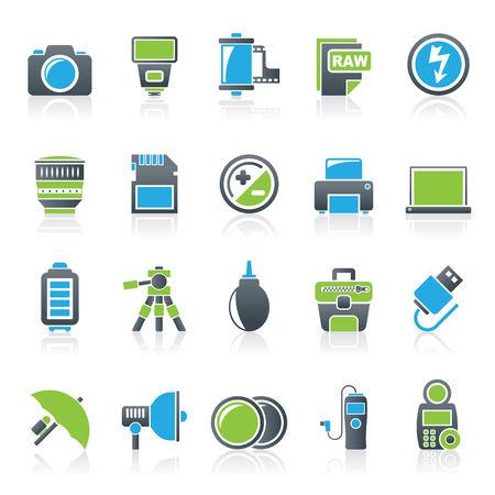 photography: Camera equipment and photography icons - Vector Icon Set