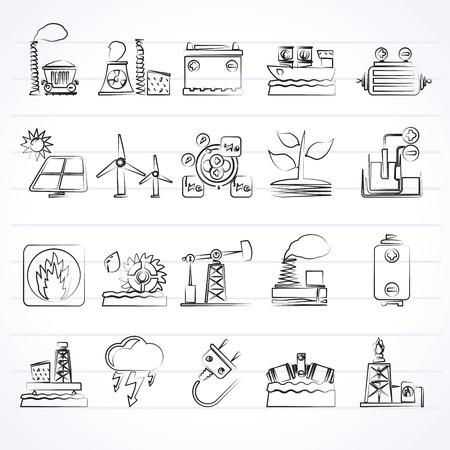thermal power plant: Electricidad y fuente de energ�a iconos - Vector Icon Set Vectores