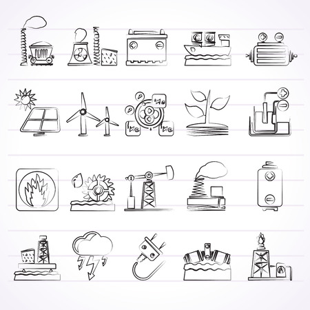 nuclear fusion: Electricity and Energy source icons - vector icon set Illustration