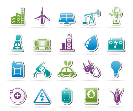 power pole: Power, energy and electricity Source icons - vector icon set Illustration