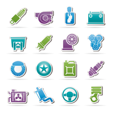 timing belt: Car part and services icons  - vector icon set