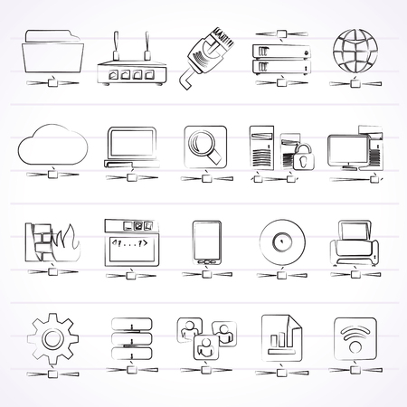 computer icons: Computer Network and internet icons -  icon set
