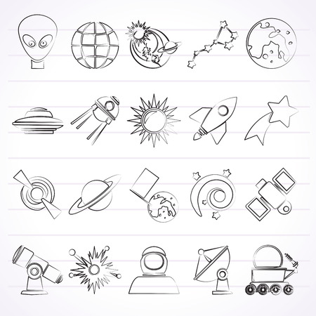 ursa minor: astronomy and space icons  -  icon set Illustration