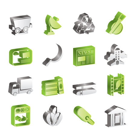 mine site: Simple Business and industry icons  Illustration