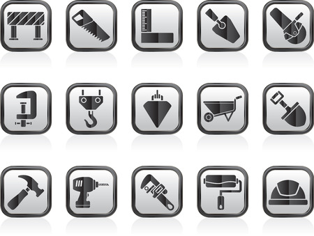 plumb: Construction industry and Tools icons Illustration
