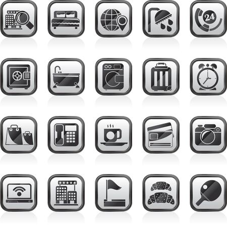 motel: Hotel and motel services icons Illustration