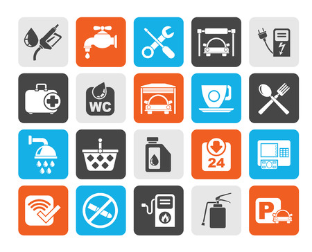 food industry: Silhouette petrol station icons Illustration