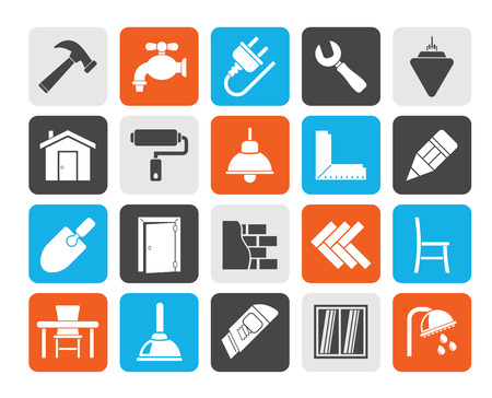plumb: Silhouette Building and home renovation icons Illustration