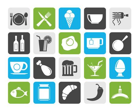 essen und trinken: Silhouette Essen, Trinken und Restaurant-Symbole - Vektor-Icon-Set