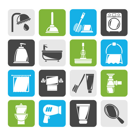 towel: Silhouette Bathroom and hygiene objects icons -vector icon set Illustration