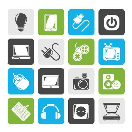 enchufe: Silueta dispositivos electrónicos de objetos iconos - Vector Icon Set
