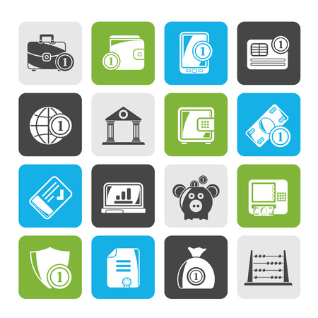 money icons: Silhouette Financial, banking and money icons - vector icon set Illustration