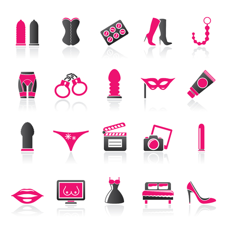 Sex, Erotic and temptation icons  - vector icon set