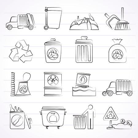 biological waste: Basura, iconos de limpieza y basura - vector icon set
