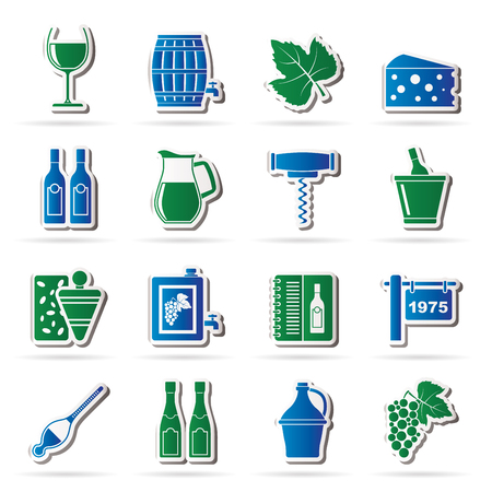 wine industry: Wine industry objects icons -vector icon set