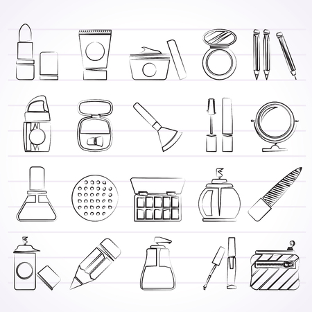 tampon: Make-up and cosmetics icons  - vector icon set