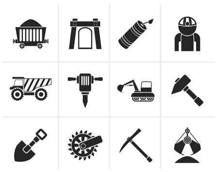 camion minero: Negro Minería y objetos e iconos de la industria de explotación de canteras - vector icon set Vectores