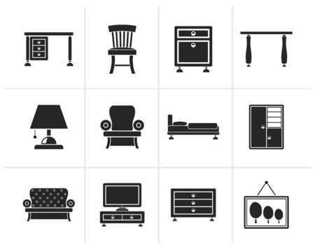 home equipment: Black Home Equipment and Furniture icons - vector icon set Illustration
