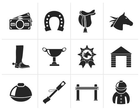 caballo corriendo: Negro Carreras de caballos y apuestas Iconos - Vector Icon Set