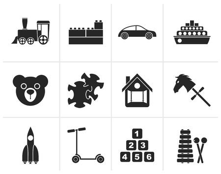 passanger: Black Different Kinds of Toys Icons - Vector Icon Set