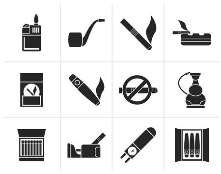 ashtray: Black Smoking and cigarette icons - vector icon set Illustration